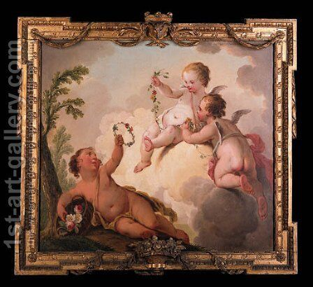 Putti disporting with garlands of flowers by Hendrik Willem Schweickhardt - Reproduction Oil Painting
