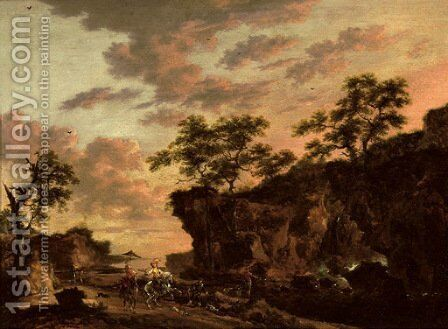 A rocky river landscape with an elegant hawking party on a path by Herman Naiwincx - Reproduction Oil Painting