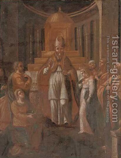 The presentation of the Virgin by Hispano-Flemish School - Reproduction Oil Painting