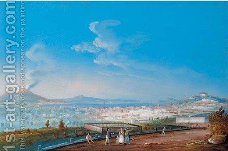 A view of Naples from the Marinella by Italian School - Reproduction Oil Painting