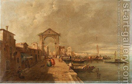 The Venetian Lagoon, with elegant figures promenading, a view of Venice beyond by Italian School - Reproduction Oil Painting