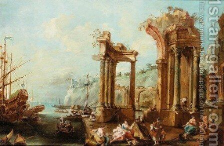 Mediterranean port scene with architectural capricci 2 by Italian School - Reproduction Oil Painting
