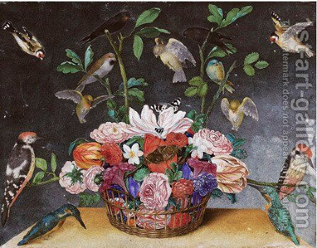 A Basket of flowers with tulips, roses, butterflies and birds by Italian School - Reproduction Oil Painting