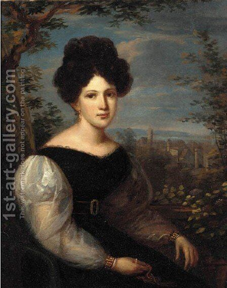 Portrait of a lady, half length, wearing a dark dress with white sleeves a view to a town beyond by Italian School - Reproduction Oil Painting