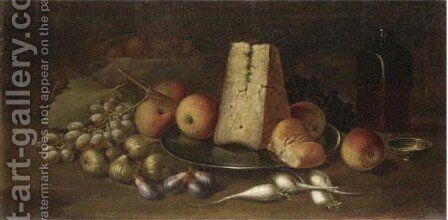 Natura Morta Con Frutta E Formaggio by Italian School - Reproduction Oil Painting