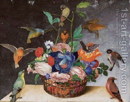A basket of flowers with irises, tulips, pansies, two butterflies and birds by Italian School - Reproduction Oil Painting