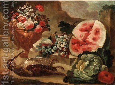 Sill Life With Flowers In A Bronze Urn, A Watermelon, Grapes, Pears And A Woodcock In A Landscape by Italian School - Reproduction Oil Painting