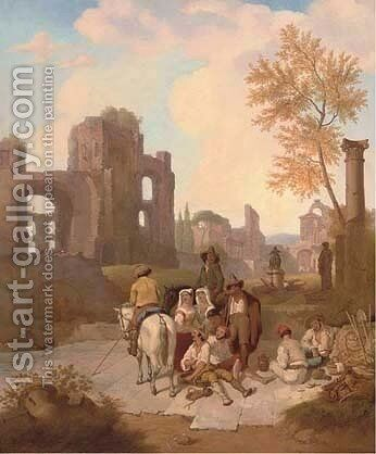 Peasants at Arcadian ruins by Italian School - Reproduction Oil Painting