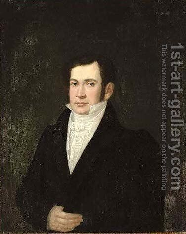 Portrait of a gentleman, half-length, in a white shirt and black coat by Italian School - Reproduction Oil Painting