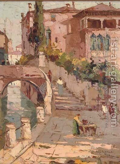 Venezia-Canale Piccolo by Italian School - Reproduction Oil Painting
