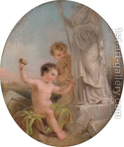 Putti carving by Italian School - Reproduction Oil Painting
