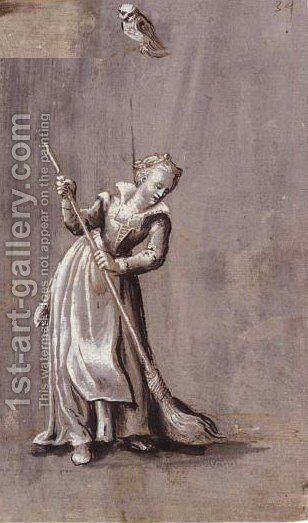 A Girl Sweeping With An Owl On A Branch Above by Jacob Mathias Weyer - Reproduction Oil Painting