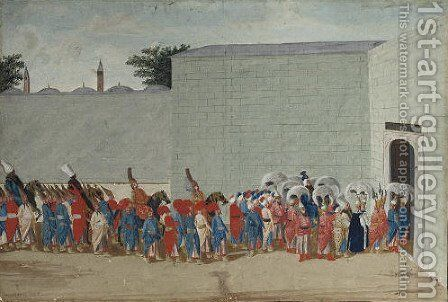 A Sultan and his entourage entering a palace by Jacopo Leonardis - Reproduction Oil Painting