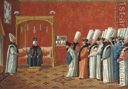 A Grand Vizier giving an audience to a delegation of foreign ministers in an elaborate reception room by Jacopo Leonardis - Reproduction Oil Painting