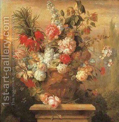 A sunflower bunch in a sculpted vase by Jakob Bogdani - Reproduction Oil Painting