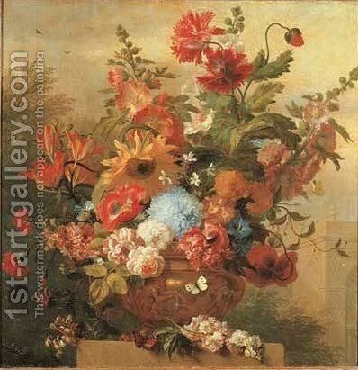 Roses, tulips, lilies, morning glory and other flowers in a sculpted vase by Jakob Bogdani - Reproduction Oil Painting