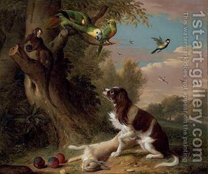 A spaniel with a dead hare in a landscape, with parrots and a monkey in a tree by Jakob Bogdani Eperjes C - Reproduction Oil Painting