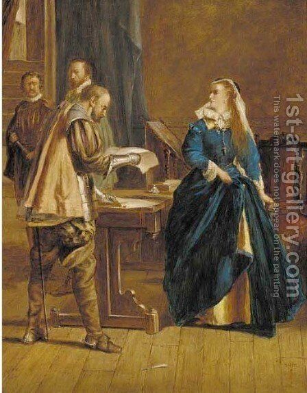 The Abdication of Mary Queen of Scots, Loch Leven Castle 22nd August 1567 by James Inglis - Reproduction Oil Painting