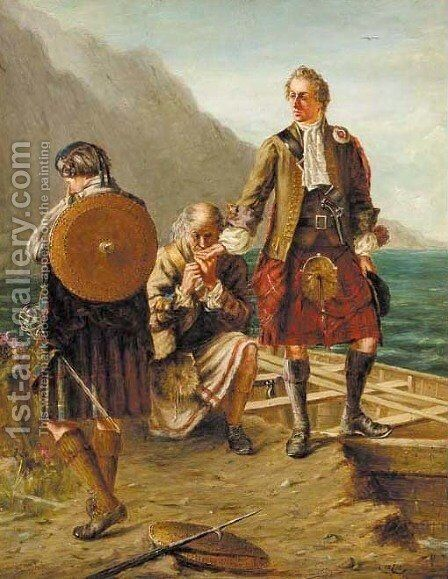 Prince Charlie Leaving Scotland, Loch Nauach, September 20th 1746 by James Inglis - Reproduction Oil Painting