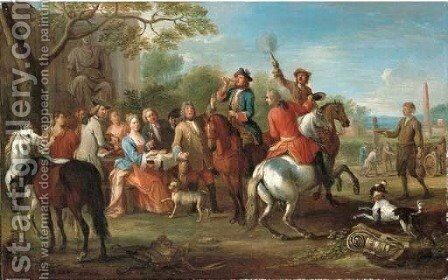 An elegant hunting party at rest in a park landscape by Jan Peeter Verdussen - Reproduction Oil Painting