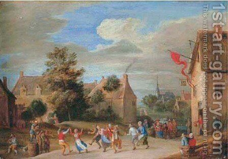 A village landscape with peasants merrymaking outside an inn by Jan-Pieter Van Bredael - Reproduction Oil Painting