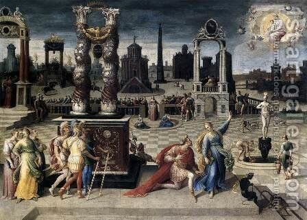 Augustus and the Sibyl 1575-80 by Antoine Caron - Reproduction Oil Painting