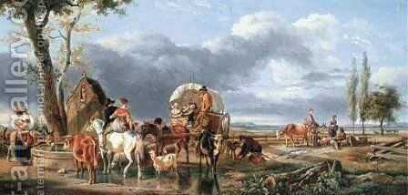Travelling peasants with their cattle and sheep in a landscape by Jean-Louis Demarne - Reproduction Oil Painting