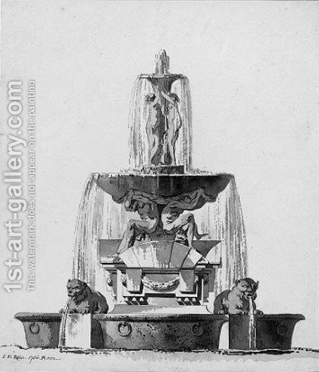 Design for a fountain with porphyry basins by Johan Eric Rehn - Reproduction Oil Painting