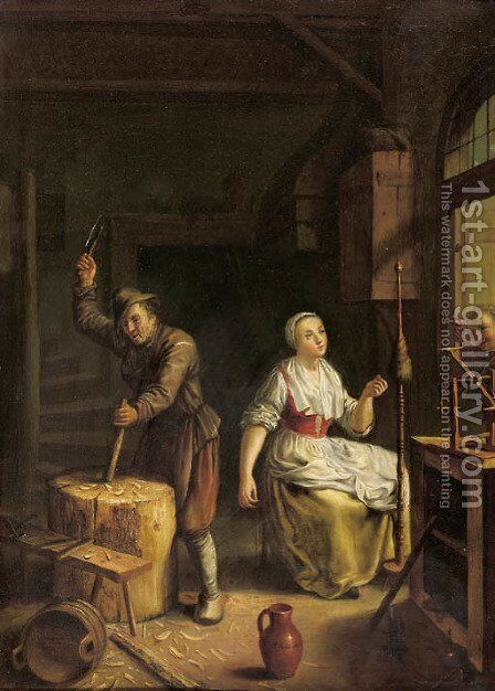 A carpenter at work and a woman at the spinningweel in an interior by Johann Jakob Mettenleiter - Reproduction Oil Painting