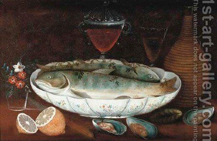 Crayfish in a porcelain bowl with oysters, lemons, flowers in a glass, a jug by Johann Seitz - Reproduction Oil Painting