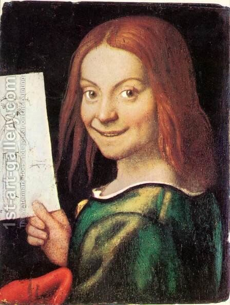 Read Headed Youth Holding A Drawing by Giovanni Francesco Caroto - Reproduction Oil Painting