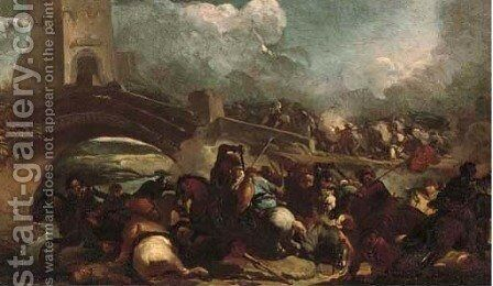 A cavalry skirmish on a bridge by Marzo Masturzo - Reproduction Oil Painting