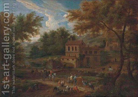 A river landscape with peasants on a path by a cottage by Matthys Schoevaerts - Reproduction Oil Painting