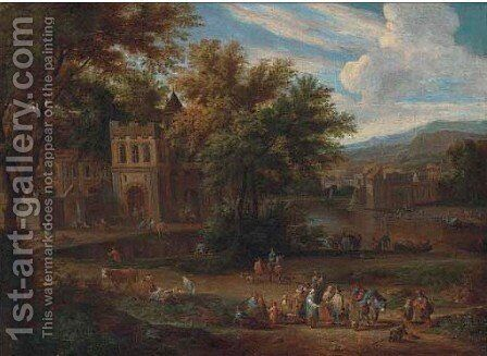 A river landscape with gentlemen and peasants on a path by a castle by Matthys Schoevaerts - Reproduction Oil Painting