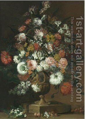 A Still Life With Roses, Tulips, Carnations, Orange Blossom And Various Other Flowers In A Bronze Urn, Together With A Handful Of Cherries by Milanese School - Reproduction Oil Painting