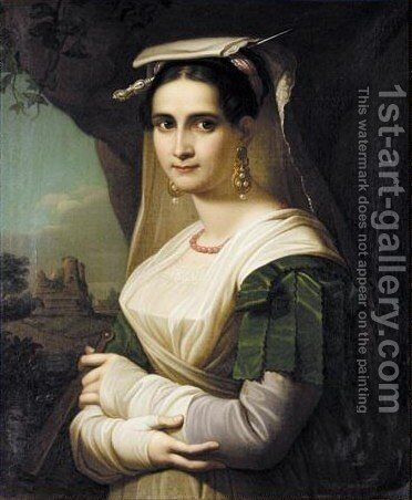 Portrait Of An Italian Woman by Munich School - Reproduction Oil Painting