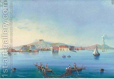 Fishing vessels on the bay of Naples, Vesuvius beyond|Five similar by Neapolitan School - Reproduction Oil Painting
