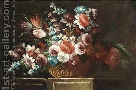 Still Life With Flowers In Bronze Urn On Stone Ledge 2 by Neapolitan School - Reproduction Oil Painting