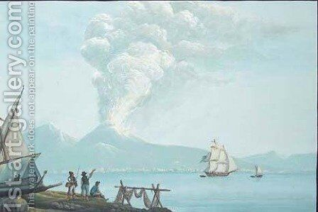 The eruption of Vesuvius seen across the Bay of Naples, a boat drawn up on the shore in the foreground by Neapolitan School - Reproduction Oil Painting