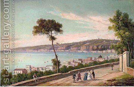 Elegant company on a coastal track, Naples by Neapolitan School - Reproduction Oil Painting