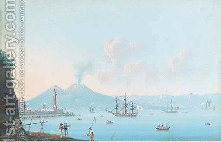 Vessels moored in the Bay of Naples by Neapolitan School - Reproduction Oil Painting