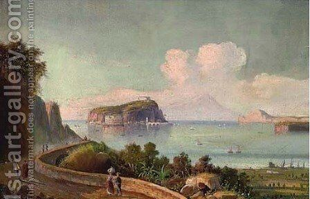 Figures before Naples, Vesuvius beyond by Neapolitan School - Reproduction Oil Painting