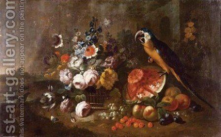 Still Life With A Blue And Yellow Macaw Perched Atop A Watermelon Surrounded By Cherries, Grapes, Peaches And A Woven Basket Of Flowers by Neapolitan School - Reproduction Oil Painting