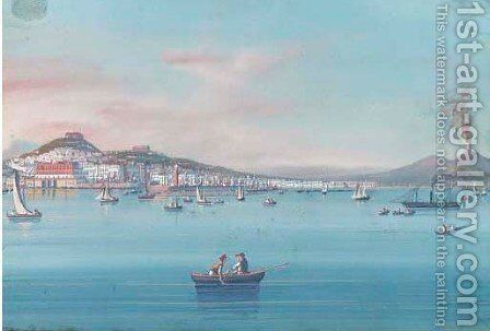 Fishing vessels on the bay of Naples, Vesuvius beyond 2 by Neapolitan School - Reproduction Oil Painting
