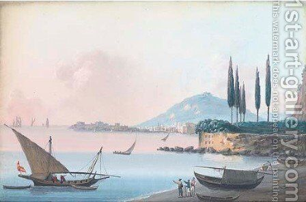 Fisherfolk on the shore, the Bay of Naples by Neapolitan School - Reproduction Oil Painting