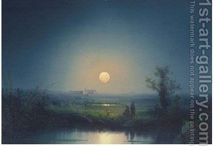 A Temple By Moonlight by Neapolitan School - Reproduction Oil Painting