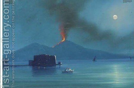 Fisherfolk before the eruption of Vesuvius, 1858 by Neapolitan School - Reproduction Oil Painting