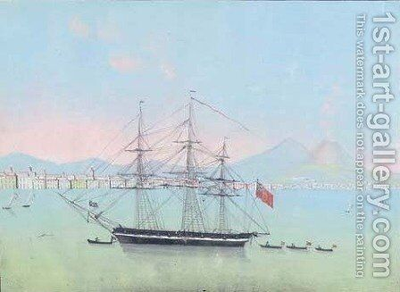 Veduta della Baja di Napoli 1836 by Neapolitan School - Reproduction Oil Painting