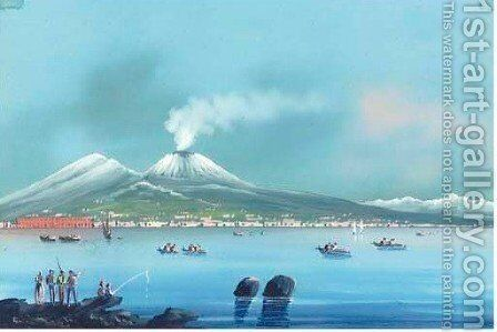 Fishing vessels on the bay of Naples, Vesuvius beyond 3 by Neapolitan School - Reproduction Oil Painting