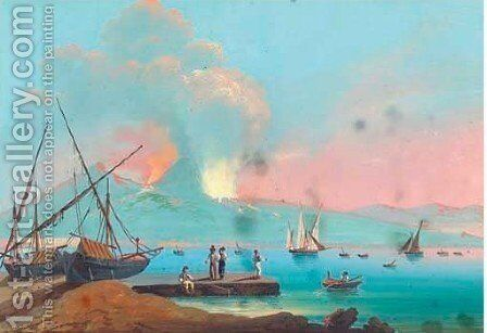 Fishing vessels on the bay of Naples, Vesuvius beyond 5 by Neapolitan School - Reproduction Oil Painting